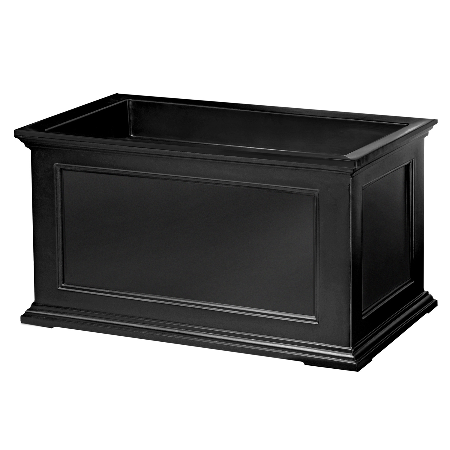 20 x 36 inch Patio Porch Planter Box in Black Polyethylene, N2036P179 :  This 20 x 36 inch Patio Porch Planter Box in Black Polyethylene would be a great addition to your home. Have the look of wood without the upkeep with these high-grade polyethylene planters. Long-lasting beauty, durability and quality. Built-in water reservoir encourages healthy plant growth by allowing plants to practically water themselves. Beautiful New England design adds a charming touch to any patio or deck; Sub-irrigation water system, encourages root growth; Fairfield Planter collection; 15 Year limited warranty.