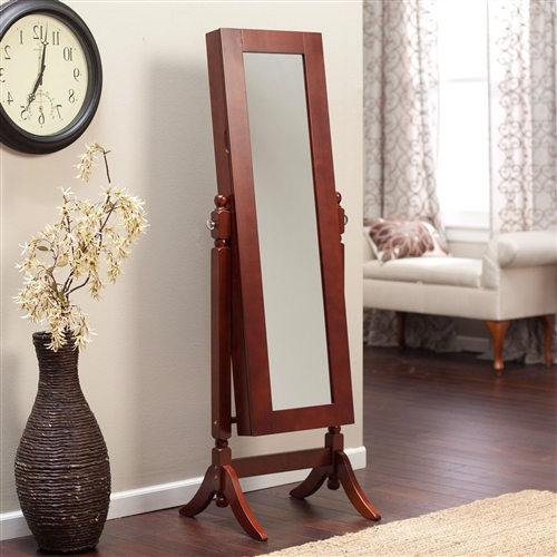 Full Length Tilting Cheval Mirror Jewelry Armoire in Cherry Wood Finish,  HJACM6198415 :  Keep all your family jewelry organized in this Full Length Tilting Cheval Mirror Jewelry Armoire in Cherry Woof Finish. This elegant piece of furniture is a must have for anyone with limited bedroom space. It is made of high quality birch wood and MDF, and it has a classic cherry finish. On the outside it has a full-length mirror almost 6-feet tall. Open the swinging door inside you will find spots for all your precious belongings, including necklace hooks, earring slots, and ring cushions. Pocket shelves store bracelets, watches, brooches, and more; Material Birch wood and MDF Style Traditional, Transitional.