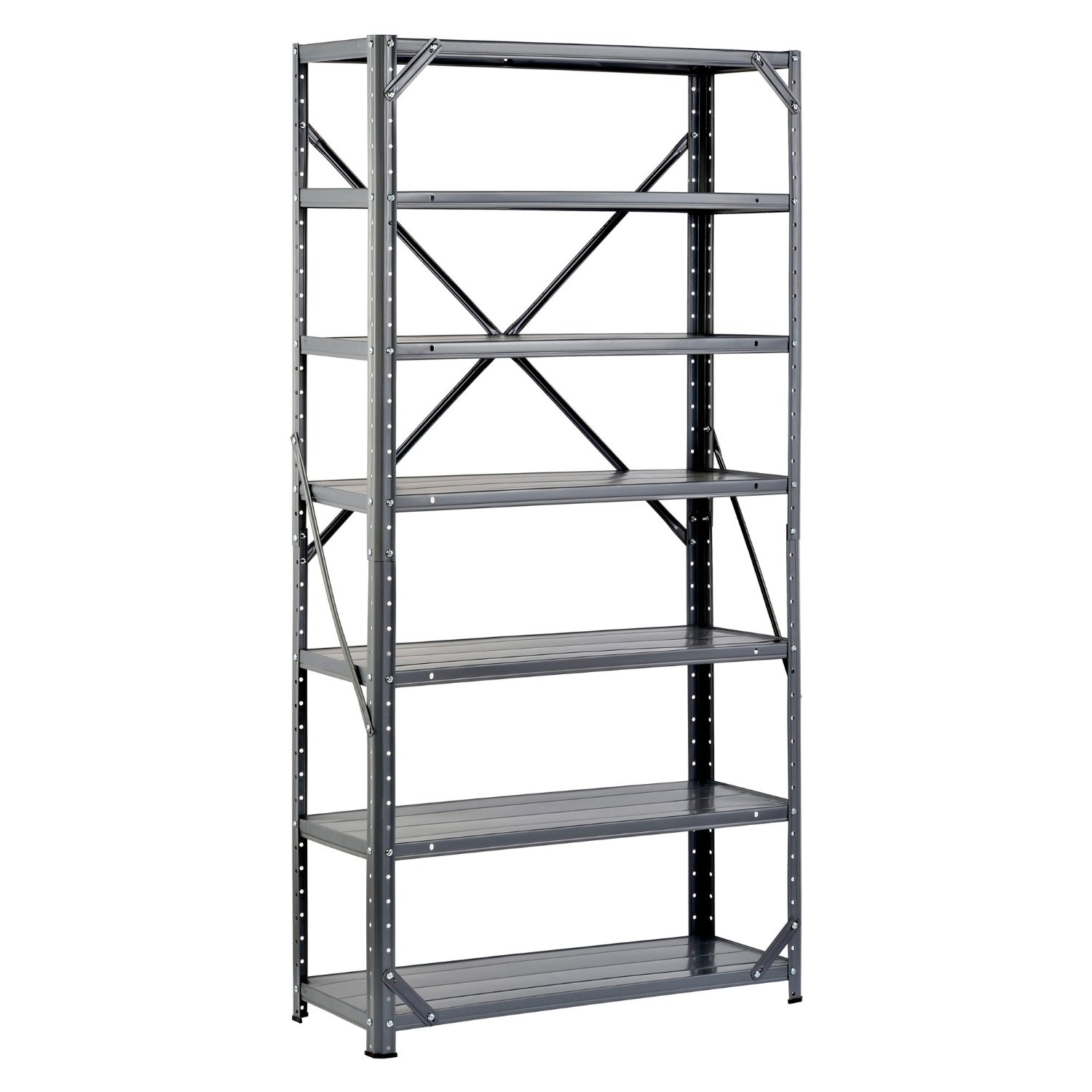 """7-Shelf Steel Metal Storage System - 750 lb Capacity, E7SM29661 :  This 7-Shelf Steel Metal Storage System  - 750 lb Capacity is made of steel to support a 107-lb. per shelf capacity and to support a 750-lb. total capacity when the weight is distributed evenly across all shelves. This unit has lipped shelves that can be installed with the lip facing downwards to create a flat surface for storage, or it can be installed with the lip facing upwards to create a tray with shallow edges for holding cans, books, and similar items. The corner post holes on this shelf unit are punched at 1-1/2"""" intervals for precise adjustment to desired shelf height. This unit has cross-braces on the back, and braces on both sides and on the front for rigidity. This shelf unit has a gray enamel finish for corrosion resistance."""