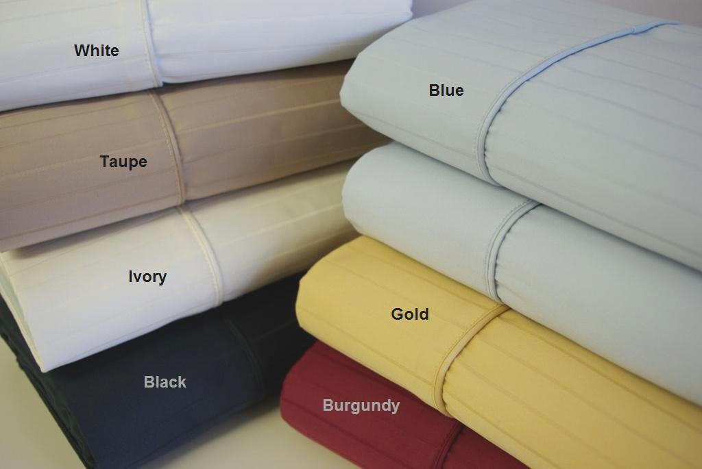 "Royal Tradition *600 Thread Count Pin Stripe Sheet Sets 100% Egyptian cotton, Sateen Weave. Deep pockets to fit up to 18"" mattress Fitted made with elastic all around for proper fit."