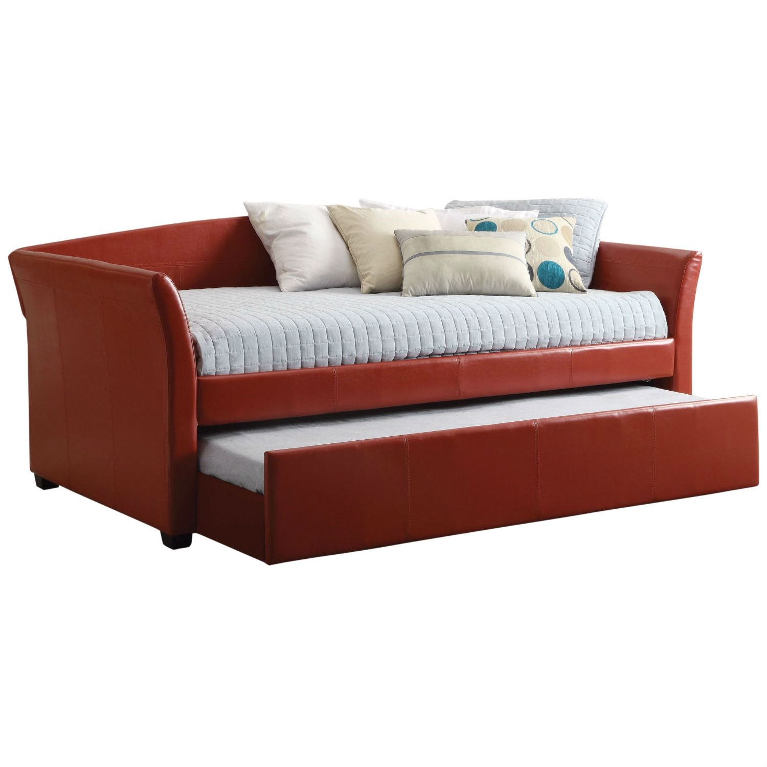 Twin size Red Faux Leather Upholstered Daybed with Trundle: Product Code: RFLDT483 : The simple, clean lines of this Twin size Red Faux Leather Upholstered Daybed with Trundle make it a perfect fit in any sleep space. The solid wood internal frame covered in leatherette cushioned back, sides and all-around for comfort and comes with a removable slipcover. Practical roll-out twin trundle great for overnight guests. Add your favorite pillows and throws to finish the look and create a place for lounging with friends. Daybed comes in three color options: Mahogany Red, Black and Grey. Assembly Required. This item ships in two (2) boxes. Once assembled, Measures 89.5 Inch length by 37.5 Inch height by 43 Inch depth. All décor items are not included in this offer unless specified.  Dark espresso-wooden feet; Practical and modern daybed with a roll-out trundle is an ideal space saver; Slats support system (Slats Kit Included); Product frame material consist of selected solid woods and strength enhancing veneers; 30-hassle free limited replacement parts warranty.