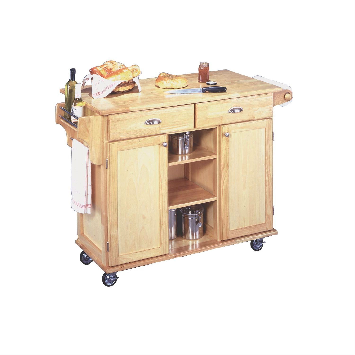 This Natural Wood Finish Kitchen Island Cart with Locking Casters has a clean style and natural finish that provides culinary function to any kitchen. It features a solid wood top, spice and condiment caddy, towel bar and paper towel holder. for storage needs the card offers both convenient open storage with fixed shelving and neat concealed storage with two utility drawers and two cabinets, each having an adjustable shelf. Heavy duty locking casters provides even greater utility. The cart is constructed from sustainable hardwood and protected by a clear coat finish helping to guard against marring from normal use. Assembly required. Measures 49-3/4-inch width by 24-inch depth by 35-1/4-inch height.