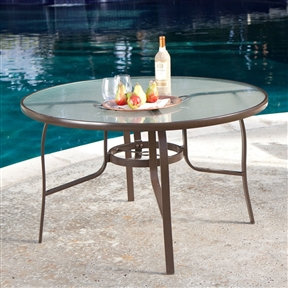 48-inch Round Glass-Top Outdoor Patio Dining Table with Umbrella Hole, CDRT561841 :  When you have a space to gather around, a good gathering is just waiting to happen, and this 48-inch Round Glass-Top Outdoor Patio Dining Table with Umbrella Hole is just that kind of table. The sturdy aluminum body of this all-weather table is powder-coated with a bronze finish, and topped with a semi-transparent, shatter-resistant glass top. Should you want to add a bit more shade or style to your porch or patio, a central umbrella hole is available. This table is made available to seat four chairs. Assembly Assembly Required; Frame Color Mocha Brown; Seating 4 Person; Shape Round; Style Poolside Tables.