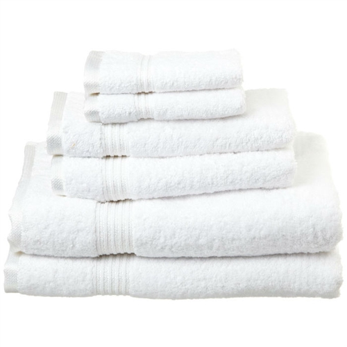 White 6-Piece Bath Towel Set in 100% Egyptian Cotton Machine Washable, WSPC5189561 :  This White 6-Piece Bath Towel Set in 100% Egyptian Cotton Machine Washable contains towels in different sizes. These are perfect for a couple, or a wedding gift as there are two of every size of towel. One-ply terry cloth; Pieces Included: 2 Bath towels, 2 Hand towels, 2 Face towels; Pattern: Solid; Recommended Cleaning Method: Machine wash; Pieces Included: 2 Bath towels, 2 Hand towels, 2 Face towels; Fabric Weight: 600 Grams per Square Meter (GSM) [Fabric Weight]; Recommended Cleaning Method: Machine wash; Country of Manufacture: China.