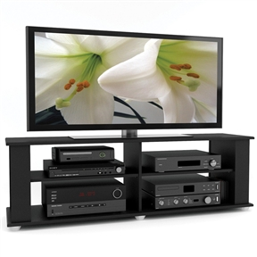 Enhance your living space with the contemporary design of this Modern Black TV Stand - Fits up to 68-inch TV. Enjoy the generous open storage space perfect for housing all of your A/V equipment, complete with adjustable shelves to customize your look. The open design provides ample storage space and crucial breathing room for all of your high valued electronics allowing them to perform at their full potential. Featured in our Midnight Black Lacquer finish this transitional stand can accommodate most 48-inch-68-inch TVs. Bring home this contemporary furniture by Sonax, proudly built in North America.