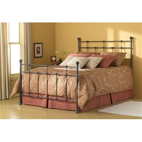 This Twin size Classic Metal Bed in Hammered Brown Finish portrays the uniquely historic look of simple beds from an era we thought was gone. The geometry of the bed relies exclusively on right angles to create a handsome bed with pared down fussiness. The clean intersections of the vertical and horizontal elements reveal a decidedly masculine profile. Both the head and footboard provide spindles. The headboard displays 8 solid castings, and the footboard a whopping 13. This element gives the overall construction a hearty and sturdy nature not found in other beds at this price point. The headboard stretches 52-Inch tall and the footboard stands in at 38-Inch. This bed's finish is Hammered Brown.
