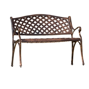 Cast Aluminum Weather Resistant Garden Patio Bench in Antique Copper Finish, BSC229581 :  Catch a summer breeze or watch the birds from your Cast Aluminum Weather Resistant Garden Patio Bench in Antique Copper Finish. Built to last with cast aluminum construction and a weather-resistant finish, this sturdy bench will give you years of enjoyment. The comfortable seating is perfect for reading a book or listening to the sounds of nature. Weather resistant; Perfect for garden entry or outdoor living space; Simple yet elegant design; Some assembly required.