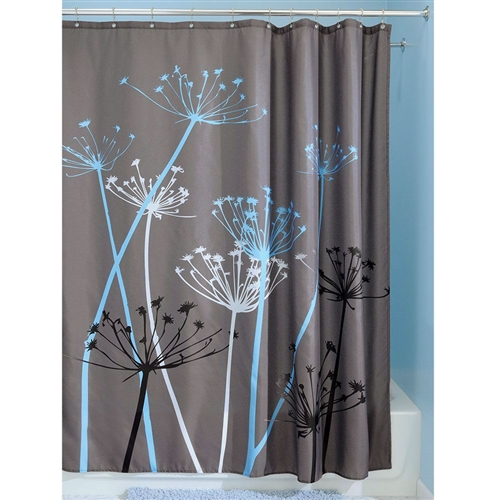 Grey Blue Floral Modern 72 x 72 inch Shower Curtain, FSC51984 : This Grey Blue Floral Modern 72 x 72 inch Shower Curtain is a beautifully designed print that's perfect for your modern bathroom. Bring the tranquility of nature inside and relax. Just toss it in the washing machine; Use of Liner Recommended; Made of 100% polyester fabric.