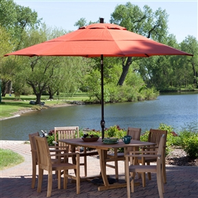 Outdoor Patio 11-Ft Market Umbrella with Push Button Tilt with Brick Red Orange Shade, CPBH814156 :  This Outdoor Patio 11-Ft Market Umbrella with Push Button Tilt with Brick Red Orange Shade has your party covered, literally. Its generous girth can bring the shade to a table up to 84 inches wide and keeps it there with a handy tilting action that lets you keep the sun at bay. It boasts a poly shade in your choice of colors, so pick one that best matches your décor and invite over a few friends for some quality patio time. In stock and ready to ship - you'll have it fast! Crank lift aluminum pole, aluminum ribs; Handy push-button tilt to keep the sun at your back; Perfect for shading tables 60 to 84 inches wide; Offers 95 square feet of shade coverage; Commercial Grade No; Fabric Type Polyester; International Shipping Canada; Number of Ribs 8; Pole Material; Aluminum Tilt;Push Button; Umbrella Shape Round.
