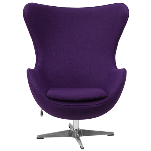This Purple Wool Fabric Upholstered Contemporary Armchair will become everyone's favorite chair whether it is used in the home or office. The egg chair can be used in the home but will add a distinguished look to your office or lobby for guest seating. The design of this chair is a classic mid-20th-century design that will conform in any era. This chair features a tilt lock mechanism that offers a comfortable rocking/reclining motion. Chair rotates 360 degrees to provide easy access to a greater range of area. The deep and wide seat and back are designed to enclose your entire body. Integrated curved arms; Features a tilt lock mechanism that offers a comfortable rocking/reclining motion; Chair Design: Lounge chair; Seating Firmness: Firm; Frame Finish: Chrome; Upholstery Material: Wool; Cushion or Upholstery Fill Material: Foam; Pattern: Solid; Non-Toxic: Yes; Removable Seat Cushion: Yes; Removable Back Cushion: No; Reversible Cushions: Yes; Removable Cushion Cover: Yes.