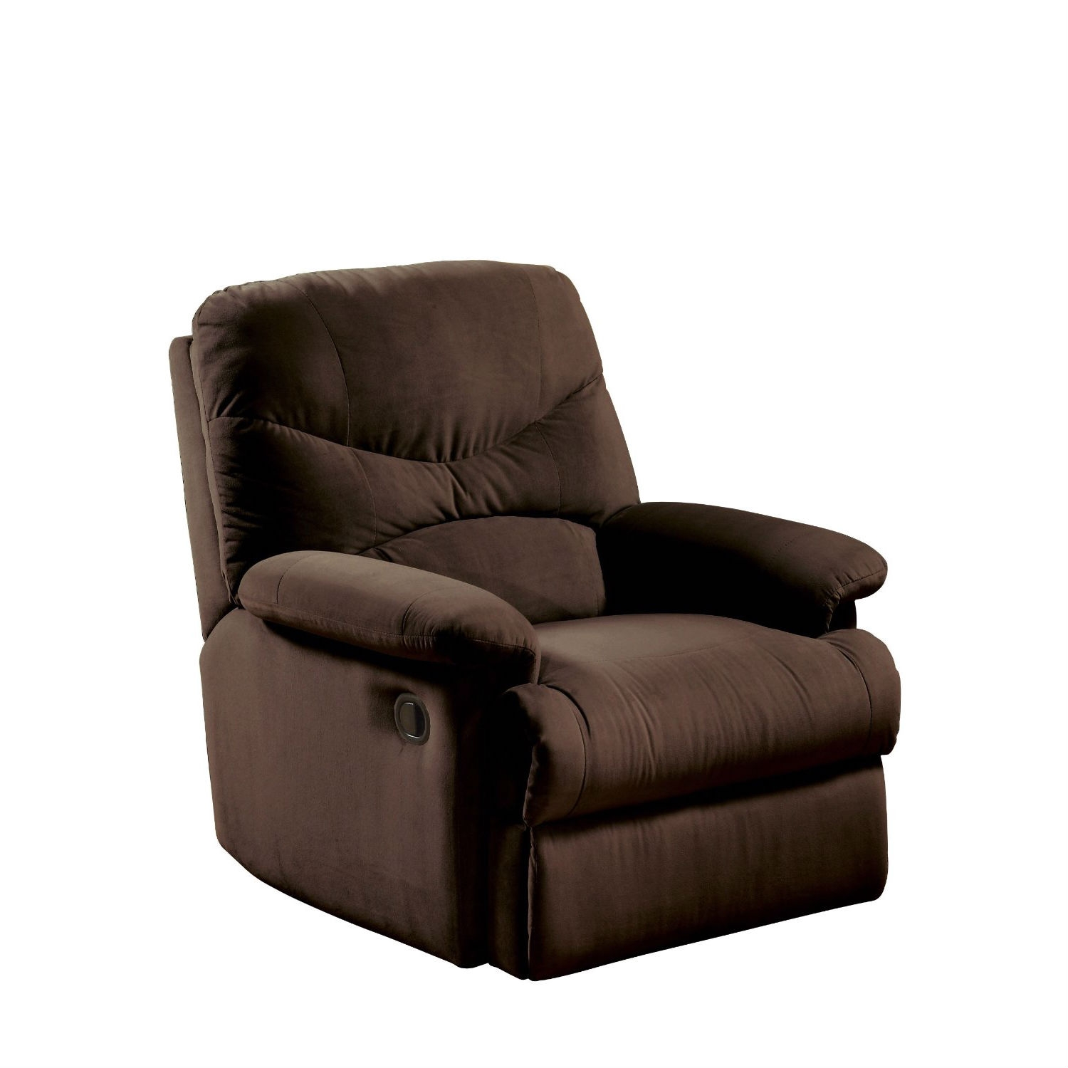 This Comfortable Recliner Chair in Chocolate Brown Microfiber Upholstery would be a great addition to your home. It has a lowering seat back knob and a footrest extension. Stain-resistant microfiber upholstery; Side knob for lowering seat back and pull lever for footrest extension; Some assembly required;  Limited warranty.