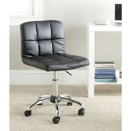 Inspired by the geometric leather aesthetic of the Bauhaus movement, this Modern Black Faux Leather Cushion Home Office Desk Chair is wunderkind in the modern home office. Crafted with quilted black PVC leather and rubber wheels, it's a stunning addition to the study or contemporary office suite.