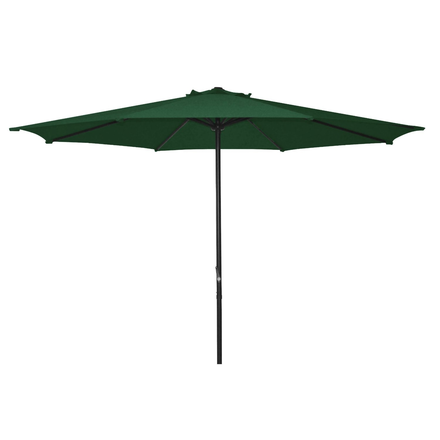 9 Foot Patio Umbrella with Dark Green Polyester Fabric Shade, ADGMU45019F :  The 9 ft Polyester Shade Market Umbrella Patio Umbrella with Crank Open System is perfect for blocking the sun and looks great in any outdoor patio, garden, or deck.  Dark Green color polyester shade.  Sturdy powder coated frame and metal pole. Easily create shade in your patio or deck area.  Umbrella Base sold separately.