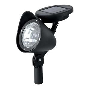 8 Pack - Solar Powered Outdoor LED Spot Light in Black, PLEDS415315 :  Capitalize on energy-efficient outdoor lighting with this 8 Pack - Solar Powered Outdoor LED Spot Light in Black with attached solar panels. With sturdy all-weather plastic construction, each low-voltage LED light fixture is designed to withstand the elements and last for years. An adjustable solar panel atop each fixture, which can be staked into the ground straight out of the box, allows you to get the best angle for maximizing the sun's rays to harness power for hours of nighttime lighting. The fixture's head can be adjusted 180 degrees up or down to cast three bright white lumens of light where you need it most, from accenting architectural or landscaping focal points to providing safety and security in high-traffic areas on your property. Maintenance-free and worry-free exterior lighting solution; Batteries: 1 AA batteries required. (included).