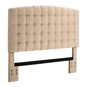 This Full / Queen size Tufted Padded Upholstered Headboard in Beige is a great addition to your bedroom. With soft, beige microfiber and thick, luxurious tufting, the headboard will provide great support for reading or watching TV in bed. Comfortable and stylish, the headboard will add a romantic touch to your room. Bed rails and mattress sold separately; Minimal assembly required.