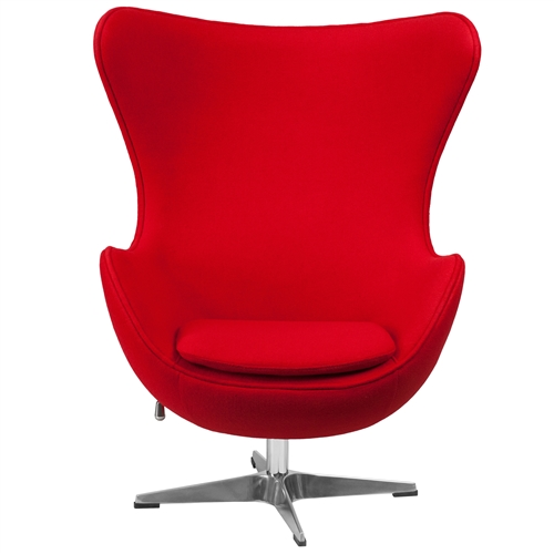 This Red Wool Fabric Contemporary Armchair Egg Shaped Living Room Accent Chair will become everyone's favorite chair whether it is used in the home or office. The egg chair can be used in the home but will add a distinguished look to your office or lobby for guest seating. The design of this chair is a classic mid-20th-century design that will conform in any era. This chair features a tilt lock mechanism that offers a comfortable rocking/reclining motion. Chair rotates 360 degrees to provide easy access to a greater range of area. The deep and wide seat and back are designed to enclose your entire body. Integrated curved arms; Features a tilt lock mechanism that offers a comfortable rocking /reclining motion; Chair Design: Lounge chair; Seating Firmness: Firm; Frame Finish: Chrome; Upholstery Material: Wool; Cushion or Upholstery Fill Material: Foam; Pattern: Solid. Contains Flame Retardant Materials: Yes; Non-Toxic: Yes; Removable Seat Cushion: Yes; Removable Back Cushion: No; Reversible Cushions: Yes; Removable Cushion Cover: Yes.