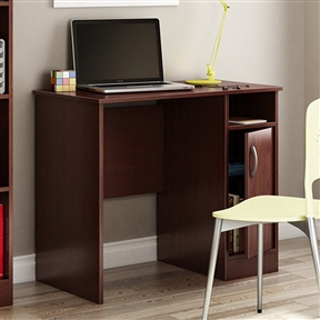 Tidy up your home office with this Compact Computer Desk in Royal Cherry Finish. This desk has clean lines and is loaded with storage options to be perfect for even tight spaces. It's made of sturdy laminate with a royal cherry finish. This desk has a spacious work surface, open cubby, and a cupboard door that opens to reveal an adjustable shelf behind.