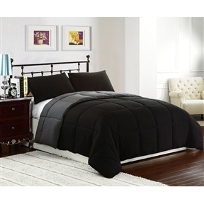 Snuggle up under this King size 3-Piece Black Grey Microfiber Comforter Set with 2 Shams and stay warm all winter. This reversible Down Alternative Comforter Set features soft Sherpa/Berber material on one side and super micro fiber polyester on the other side. The blanket is available in your choice of Twin Full/Queen or king Sizes. This Down Alternative Comforter/Blanket/Throw/Duvet Insert is treated with an anti-microbial finish to repel dust miles and is ideal for allergy sufferers. Box stitching design to avoid any shifting, Easy care machine