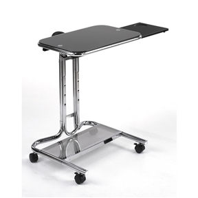 "This Mobile Laptop Computer Desk Cart with Black Glass Top would be a great addition to your home. Also, it is made of tempered safety glass and has a chrome finish. Height adjustable from 30"" to 37""; Multifunctional; Sliding mouse pad and cup holder; Casters for mobility; Glass top weight capacity limit: 15lbs; Assembly required; Manufacturer provides ten year warranty; Features: Height Adjustable; Product Category: Computer Carts And Stands; Style: Laptop Stand."