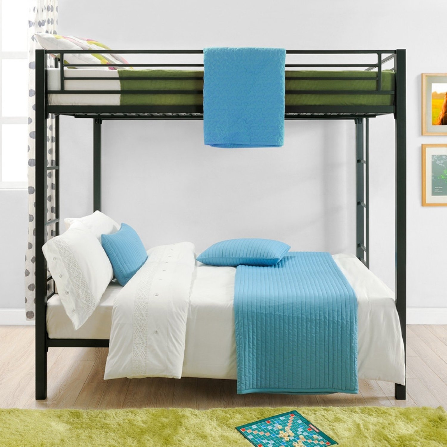 Full over Full size Sturdy Black Metal Bunk Bed, DFOFB22988 :  Complete your kid's room with this Full over Full size Sturdy Black Metal Bunk Bed. With square posts and simple design, this bunk bed will complement any room décor. The bunk bed includes metal slats for support and durability and can be used without a box spring or bunk board. It also includes full length guardrails for upper bunk and a sturdy integrated ladder for safety. Functional and space-saving, this Full-Over-Full Metal Bunk Bed is perfect for kids sharing a room or for sleepovers. Mattress support slats included, no box spring or bunk board required.