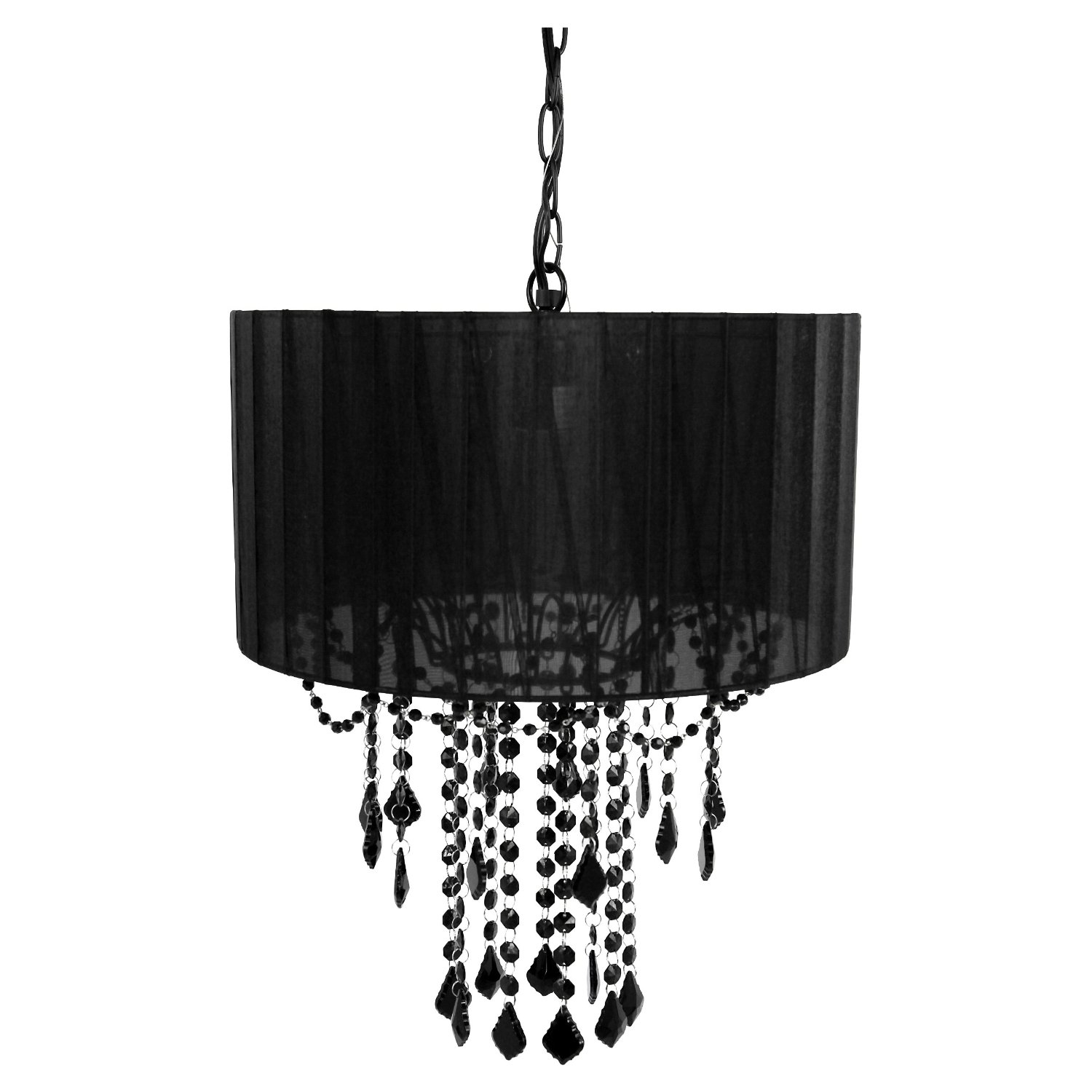"This Black Drum Shaded One Bulb Chandelier beauty with a soft, modern shade. This gorgeous shaded chandelier creates a lovely light in any room. One bulb chandelier with shade. Uses one 60 watt bulb. Features: -Material: Wrought Iron. -Hang as a swag lamp or professionally install as a ceiling fixture. -Ceiling plate included for professional hardwire installation. -72"" cord and 48"" chain for hanging. -UL Listed."