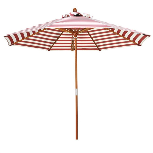 Red And Natural White Striped 9 Ft Patio Umbrella With Wood Pole,  RWSPB851984 :