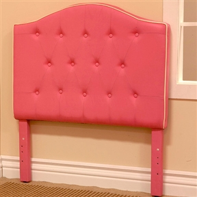 "This Twin size Light Pink Fabric Upholstered Headboard would be a great addition to your home. It has a white button detail and pink fabric. Twin Headboard, Pink fabric and Solid wood frame, Item size: 42 1/8"" x 3 1/2"" x 47 1/4""H, Pack size: 43.75"" x 32.63"" x 4""H, KD package."