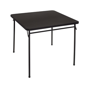 Unfold some fun with this Square Black Plastic Folding Table with Metal Legs designed for indoor or light outdoor use. This table is stylish, strong and easy to clean. This versatile piece saves space and time with table legs that fold in to make for easy storage. Its 34-Inch square size offers comfortable seating for four. This table has a heavy duty steel frame and steel legs.
