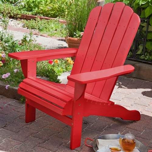 Environmentally Friendly Weather Resistant Eucalyptus Wood Adirondack Chair in Red, BADL987451 :  Add a splash of vibrant color to your morning routine by having coffee on your deck or patio in this Environmentally Friendly Weather Resistant Eucalyptus Wood Adirondack Chair in Red, which features a bright cherry-red finish. Crafted from ecofriendly eucalyptus wood for durability and weather resistance, the chair is rugged enough to grace your outdoor space for years to come. The chair's reclined comfort back gives you a cozy place for repose, while its wide armrests give you space for a mug and a book. To add even more functionality, you can pair the chair with a matching ottoman or side table to complete the look. Bright cherry red finish; Color Cherry Red; Style Adirondack Surface Painted.