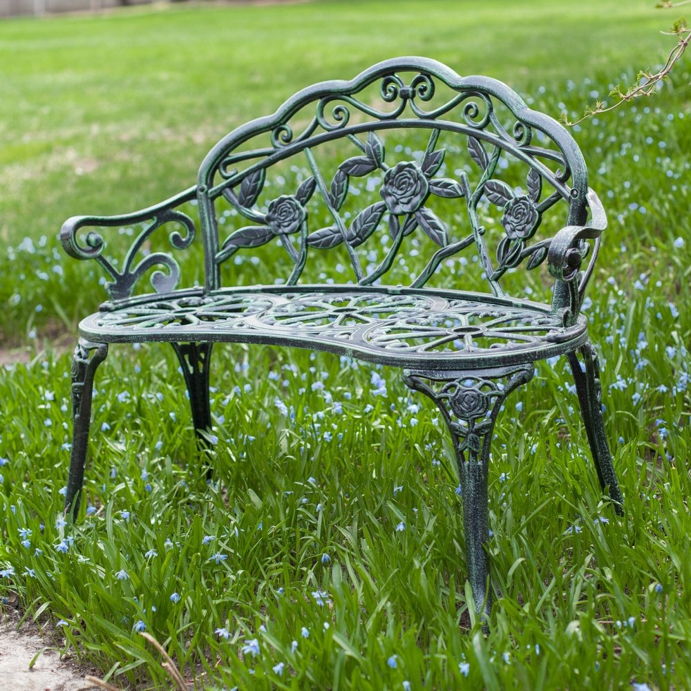 Cast Aluminum Loveseat Garden Bench with Rose Floral Decoration, CACLB169 :  With a flash of classic charm, this Cast Aluminum Loveseat Garden Bench with Rose Floral Decoration is the perfect place to enjoy a beautiful day in your garden. It is made from solid cast aluminum and has an Old World look brought to life by its verdigris finish with perfectly aged distressing. This fine loveseat only requires a small amount of assembly then you will be ready to enjoy some quiet comfort for years to come. An excellent addition to your garden, this bench makes a lovely spot to literally stop and smell the flowers. Needs minimal assembly.