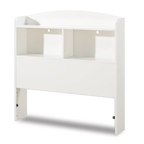 This Twin size Modern Arched Top Bookcase Headboard in White features open storage cases and is definitely a smart addition to this 6-piece bedroom collection. 2 divided cubbies with full-length top shelf; 2 holes for running electrical cords. Accommodates twin-size mattress and box spring; assembly required.