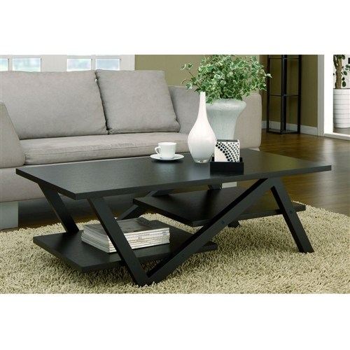 The clean rectangular top, with an unexpected Z shape foundation base and elevated shelves, adds depth and intrigue to this Modern Z-Shape Coffee Table in Black Wood Finish. Finished in a classic matte black finish. Contemporary coffee table frame is made of medium fiber board construction. To clean, use damp cotton cloth to wipe clean. Two bottom shelves for display; Z-shape support legs; Low profile modern design; Assembly required by two adults; To clean, use damp cotton cloth to wipe clean; Made in China.