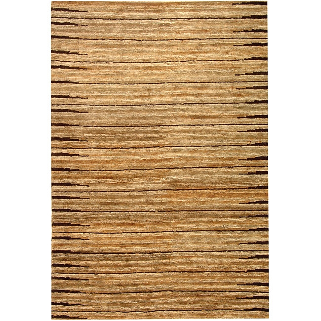 Hand-knotted All-Natural Fields Beige Hemp Rug (8' x 10'), HKANFBHR8X10 :  Fashion meets sustainability in this Hand-knotted All-Natural Fields Beige Hemp Rug (8' x 10'). This casual floor rug is hand-knotted of 100-percent high-quality jute pile on a cotton warp and weft with a fringeless border. The all-organic rug features natural beige and ivory colors. All rug sizes are approximate. Due to the difference of monitor colors, some rug colors may vary slightly. Overstock.com tries to represent all rug colors accurately. Please refer to the text above for a description of the colors shown in the photo. Tip: We recommend the use of a non-skid pad to keep the rug in place on smooth surfaces. Style: Casual; Primary color: Beige; Pattern: Stripe; 8' x 10'