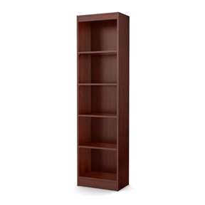 This Contemporary Narrow Bookcase with 5 Shelves in Royal Cherry Finish is ideal for your binders, books or decorative items. It features 5 open, practical and accessible storage spaces, separated by 2 fixed and 3 adjustable shelves that can support up to 30 pounds each. Its refined lines harmonize seamlessly with virtually any décor. Both functional and attractive with its sleek contemporary styling, this bookcase is sure to enhance the look of any room in your home. It is also available in Pure White, Chocolate, Pure Black or Royal Cherry finish.