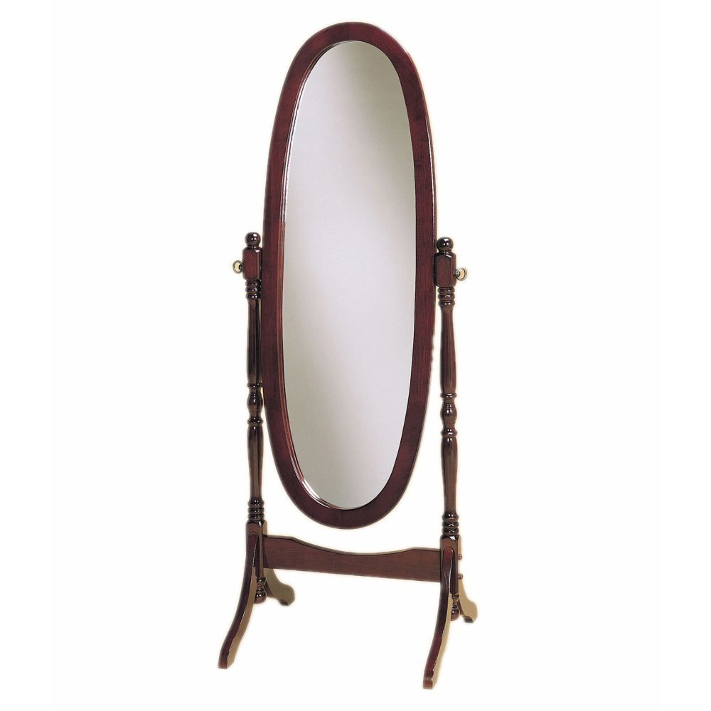 Full Length Oval Cheval Mirror in Cherry Finish, FTSCMC4201 :  This Full Length Oval Cheval Mirror in Cherry Finish swings between two decoratively turned posts to provide the user with a full length refection. crafted out of rubber woods, the mirror frame features a warm cherry finish. the mirror frame stands on gracefully carved, bracketed feet. Freestanding design swings mirror between stylish turned posts and curved bracketed feet