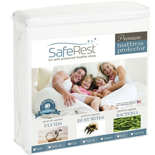 Premium Mattress Protectors offer protection against dust mites, fluids, urine, perspiration and allergens making them especially helpful for those with kids, pets, allergies or incontinence. As we sleep we shed thousands of dead skin cells, which can quickly accumulate providing an ideal environment for dust mites. Our mattress protectors trap dust mites, allergens and skin cells on the surface of the protector where they can be easily washed away during suggested quarterly launderings. This helps provide a cleaner more allergen free sleep environment for you and your family. Fitted Sheet Style., To ensure a great fit, an elastic band is used on the side skirt to automatically pull excess material under the mattress. Machine-wash with your sheets using normal household detergents that do not contain bleach. Tumble dry on low heat. Do not iron. Our mattress protectors will not change the feel of your mattress. This is great for those with any type of mattress including innerspring, latex or memory foam. 100% waterproof membrane layer. Cotton terry naturally absorbs moisture and is completely noiseless.