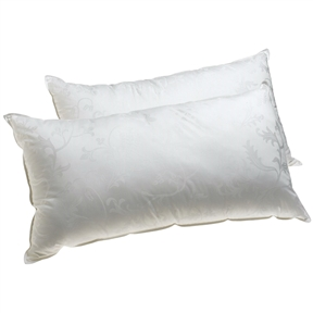 A great alternative to down, this Set of 2 - King size Hypoallergenic Pillows with Gel Fiber Fill uses a revolutionary polyester gel fiber fill to create a lastingly comfy sleep surface. Hypoallergenic, the pillows deliver great loft recovery and, unlike down, will not shift shape and lose support where it counts in the middle of the night. For added comfort, each pillow comes with a pretty shell made from 370-thread-count, mercerized cotton with a floral jacquard pattern. Provides comfortable support for back, side, and stomach sleepers.