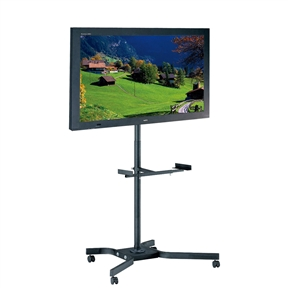 "This Mobile TV Cart Metal Stand for up to 46-inch TVs w/ Swivel Locking Casters Wheels is a solid, durable, all steel constructed , height adjustable TV cart with one adjustable middle shelf. Recommended for up to 46"" flat panel TV. Ship UPS or FedEx ground. (TV in the picture is not included). TV mount titled 20 degree up and 20 degree down, and swivel right and left for 360 degree; Beautiful anti-scratch black powder paint finish; One middle shelf (sized adjustable) included in the package; The carts moves easily with four silent roll ball-bearing swivel casters."