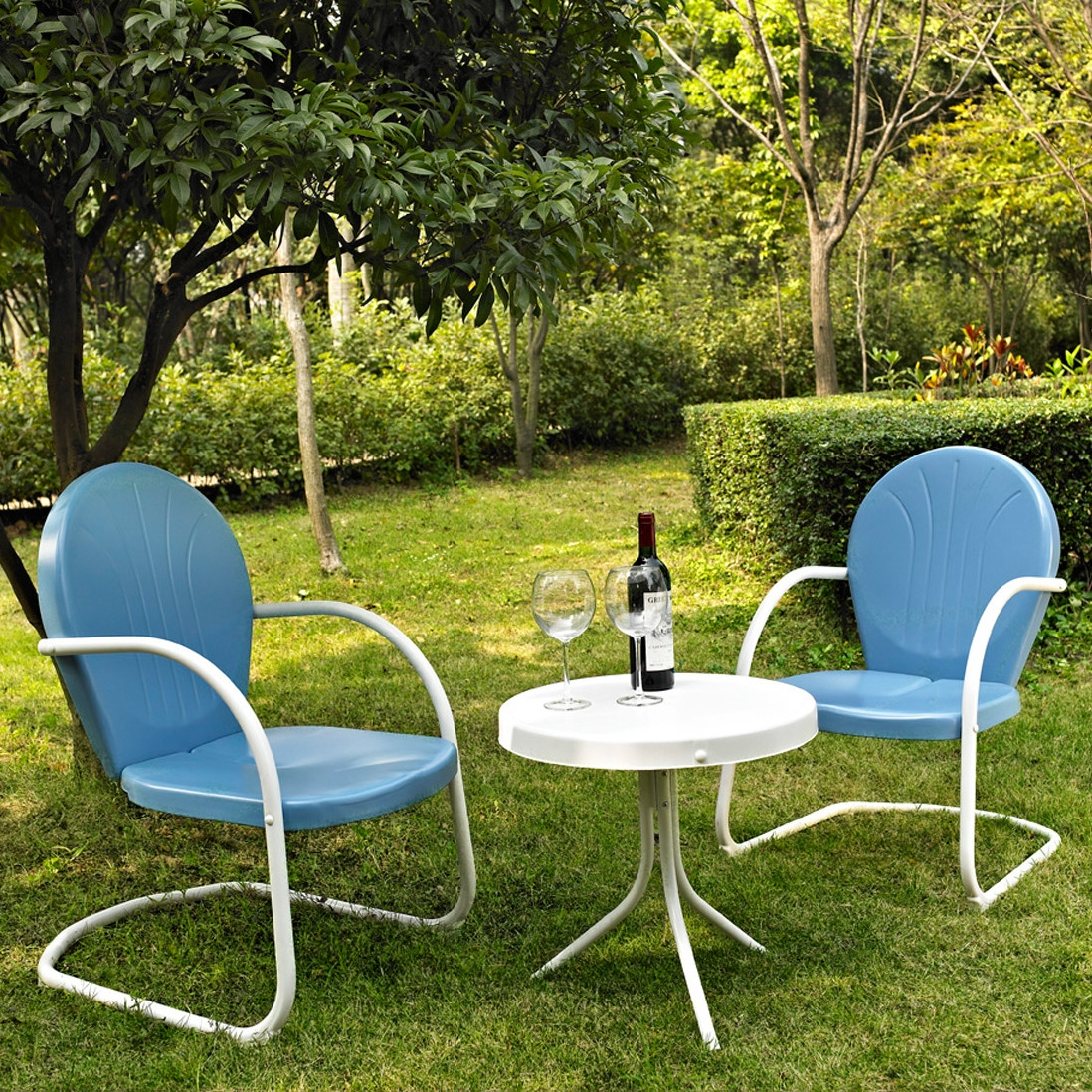 3-Piece Patio Furniture Set w/ Table & 2 Chairs in Sky Blue, SB3S138991 :  Relax outside for hours on our nostalgically inspired 3-Piece Patio Furniture Set w/ Table & 2 Chairs in Sky Blue. Kick back while you reminisce in this seating set, designed to withstand the hottest of summer days and other harsh conditions. Use a soft clean cloth that will not scratch the surface when dusting. Use of furniture polish is not necessary. Should you choose to use a furniture polish, test in an inconspicuous area first. Use of solvents of any kind could damage your furniture's finish. To clean, simply use a soft cloth moistened with lukewarm water, then buff with a dry soft clean cloth. UV resistant; Set includes 1 side table and 2 chairs; Sturdy steel construction; Non toxic powder coated finish; Weather Resistant Details: Weather resistant Water; Resistant Details: Water resistant and waterproof; Assembly Required: Yes; Product Warranty: 3 Month limited; Woven: Yes; Sling Included: No; Weight Capacity: 250lbs. Style: Contemporary; Pieces Included: 1 Side table, 2 Chairs; Country of Manufacture: China.