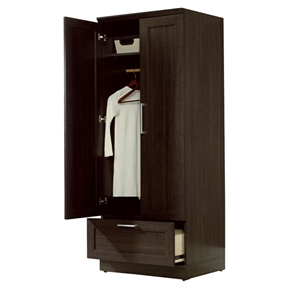 Add function throughout your home with this Dark Brown Wood Wardrobe Cabinet Armoire with Garment Rod that provides the right amount of style to fit any room and delivers the function to match. Each piece works as a stand-alone, or in combination with other pieces to provide built-in look. Interior: 18''; Garment rod included; Manufacturer provides five years warranty; Product Type: Wardrobe cabinet; Application: Office; Finish: Brown; Style: Contemporary; Shelves Included: Yes; Doors Included: Yes; Drawers Included: Yes.