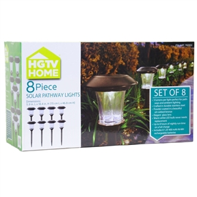 8-Piece Outdoor Pathway Solar Lights with Rechargeable Batteries, HPSL574784 :  These 8-Piece Outdoor Pathway Solar Lights with Rechargeable Batteries are perfect for front yard or backyard pathways. They are suitable for any home and are crafted in a beautiful powder-coated oil rubbed bronze and stainless steel. Each light measures 5.9in (L) & 18.4in (H) and includes 1 LED light, crystalline solar panel, 1 rechargeable 1.2V 400 mAh Ni-MH battery, and an elegant glass lens. They can run up to 8 hours on a full charge and with 3 lumens per light provides maximum energy to project a beautiful pattern of warm, natural white LED light!