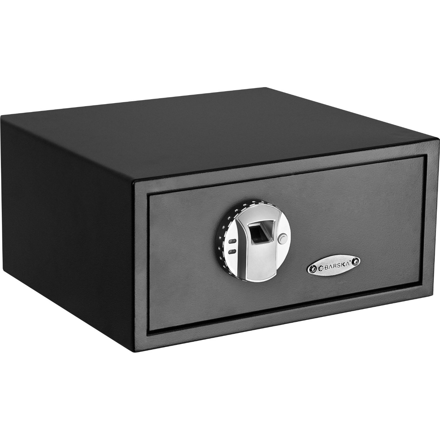 Quick Access Fingerprint Recognition Handgun Safe, BBGS21499 :  Rest assured knowing your valuables are stored securely in this Quick Access Fingerprint Recognition Handgun Safe. Compact, convenient, and state of the art, the safe offers a unique fingerprint pad that recognizes only your fingerprint and others you designate. Fingerprint recognition guarantees you'll never again have to fumble for your keys or remember complicated combinations. Just touch your finger to the pad--which accepts up to 30 fingerprints--and you'll receive instant access to your money, passport, firearms, medicines, jewelry, and other treasured items. In the end, the safe gives you complete control over who can open the interior and retrieve the contents--and more importantly, who can't. Stores important documents, valuables, jewelry, and more; Includes mounting hardware and 2 emergency backup keys.