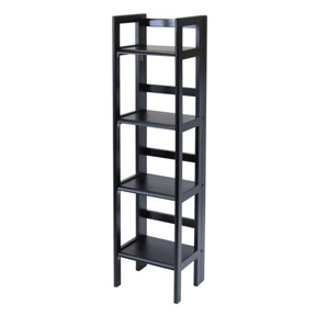 Add, subtract, and relocate your shelving to meet your changing needs with this Black 4-Tier Shelf Folding Shelving Unit Bookcase Storage Shelves Tower. Run out of cabinet space for kitchen appliances? Tuck one in the kitchen. Have an insatiable reading appetite? Place two side by side for books. Got brave and decided to host a big Thanksgiving in a studio apartment? Easily collapse the whole unit by its hinges and slip it into a closet. Crafted of solid beechwood, this simple piece is light and airy yet reliably sturdy with bullnose rectangular shelves, open ladder-style sides, and back support rails. It is available in Black, Natural, and Antique Walnut finishes to complement any décor.