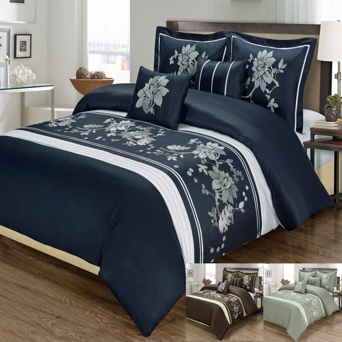 Royal Tradition. Duvet cover Details; Duvet material :100% Cotton; Style: Embroidered; Thread count: 300; Duvet cover has 4 inner ties; Duvet cover has self piping 4 sides; Hidden zipper closure by footer. Care Instructions: Machine washable in cold water.