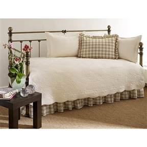 This 100-Percent Cotton 5-Piece Daybed Bedding Set in Ivory will complete any room! The set includes a Embroidered quilt with scalloped edges, 2 tailored quilt shams, one plaid standard shams with a 2inch ruffle on all edges and a bedskirt with ruffles that feature split corners with overlap. This complete bedset will instantly update your room!