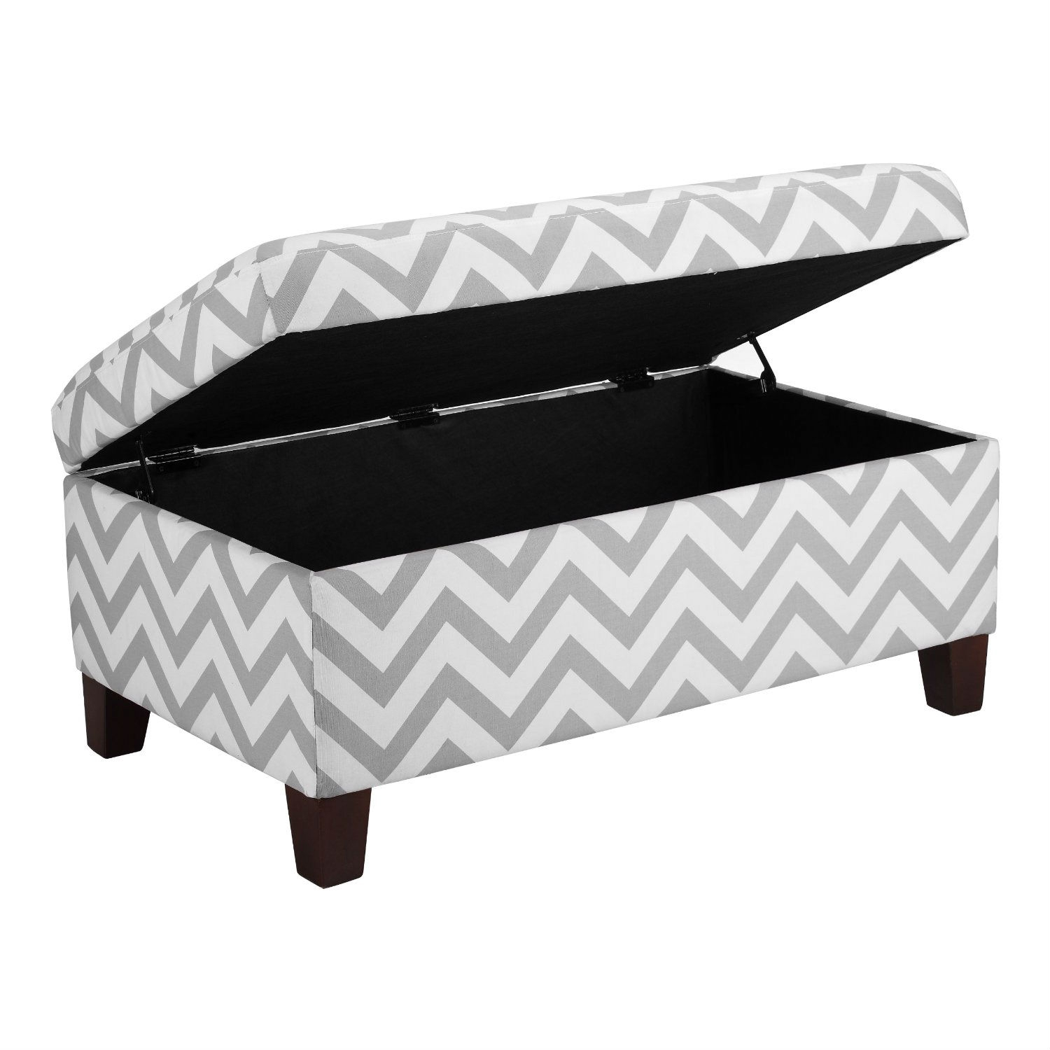 Grey & White Chevron Stripe Padded Storage Ottoman Bench, DACSO9951 :  Whether it be to hide away clutter in the room or to kick up your heels at the end of the day, this Grey & White Chevron Stripe Padded Storage Ottoman Bench is a practical and stylish storage solution. The grey and white Chevron Storage Ottoman offers a trendy look and livens up any room with its bold pattern.