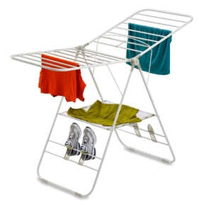 Heavy Duty Metal Folding Laundry Drying Rack with Shoe Holders in White, HCDHDG2947 :  This Heavy Duty Metal Folding Laundry Drying Rack with Shoe Holders in White is white and comes designed with 4 sections that move around. Each one has dividers that let you hang clothes/shoes and other laundry through to dry. If you're looking for a way to maximize energy efficiency, use a drying rack.  Each wing has dividers for holding things to dry; Comes with 2 pairs of shoe holders; Perfect for outdoor or indoor drying.