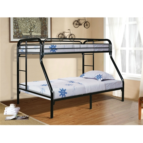 Let your kids enjoy personal space without compromising on style. Constructed using superior-quality metal for durability, this Twin over Full size Sturdy Black Metal Bunk Bed with Ladder also features a contemporary design which guarantees comfort. Makes it compatible with all types of decor setting. A ladder allows for easy up and down. A true space saver and a must have for any child's room. Frame Material: Metal; Guardrail(s) Included: Yes; Ladder Included; Ladder Location: Universal; Product Type: Standard bunk; Style: Contemporary. Age Group: Birth to 6 Months; 6 to 12 Months; 12 to 24 Months; 3 to 4 Years; 5 to 6 Years; 7 to 8 Years; 9 to 10 Years; 11 to 12 Years; 13+ Years; Also Suitable for Adults: Yes; Weight Capacity Top Bed: 150 Pounds; Weight Capacity Bottom Bed or Futon: 200 Pounds. Country of Manufacture: Malaysia; Assembly Required: Yes; Product Warranty: 1 year.