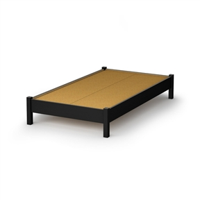 This Twin size Contemporary Platform Bed Frame in Black Wood Finish is great value for your money, as it does not require a box spring. In addition, the decorative legs will give your bedroom a stylish touch. It is designed to support a maximum weight of 250-pound. It is also available in Pure White, Natural Maple or Chocolate finish. It measures 78-inch long by 44-inch wide by 14-inch high. It is delivered in a box measuring 81-1/2-inch by 23-1/4-inch by 4-1/4-inch weighing 100-pound.Made of non-toxic recycled CARB2 compliant laminated particle panels. Complete assembly required by 2 adults. Tools are not included. Made in Canada.