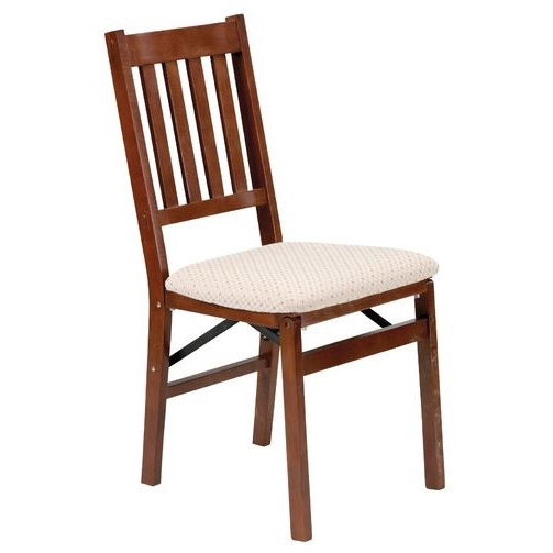 """This Set of 2 - Folding Dining Chair with Upholstered Seat embrace the arts and crafts period of furniture with their wide slats and full threw tenons. The chairs are constructed of solid hardwood and have a steel folding mechanism to provide years of enjoyment. Folds to 7.5"""" Deep for storage; Application: Residential; Back Style: Slat Back; Chair Design: Side Chair; Dining Type Options: Casual/Kitchen, Formal."""